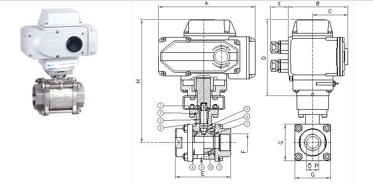 Q911F电动内螺纹球阀